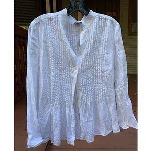 ARMANI COLLEZIONI white pleated blouse